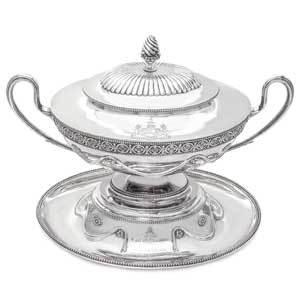 A Victorian Silver Tureen, Cover, and Stand, $8,000/12,000
