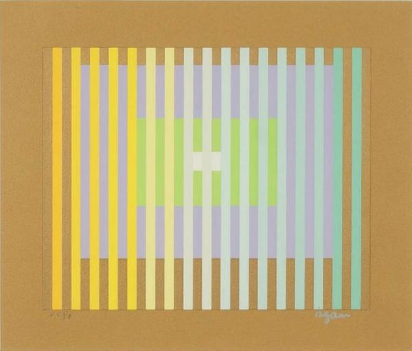 Yaacov Agam (Israeli, b.  1928-), Nine X Three X Five, color serigraph, 1987.  Signed LR and numbered H.C.  3/6, coming up in Susanin's April 21, 2020 auction.  Estimate: $150-$250.