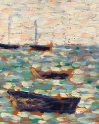 This painting was among the very first in which the artist explored the technique that would become known as Pointillism.  Based upon the emerging science of color theory, Seurat's Pointillist style is regarded as one of the most innovative movements in the history of art.