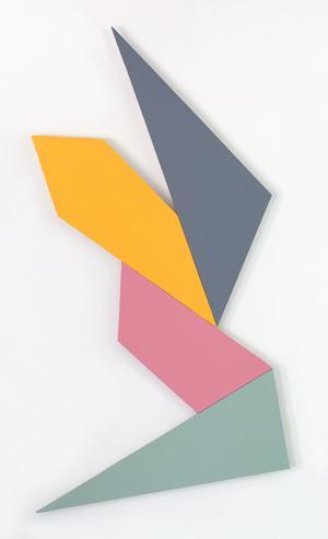 Ken Greenleaf, 4-Polarity, 2014 Acrylic on canvas on shaped support, 46 x 24 in.  (116.8 x 61 cm)