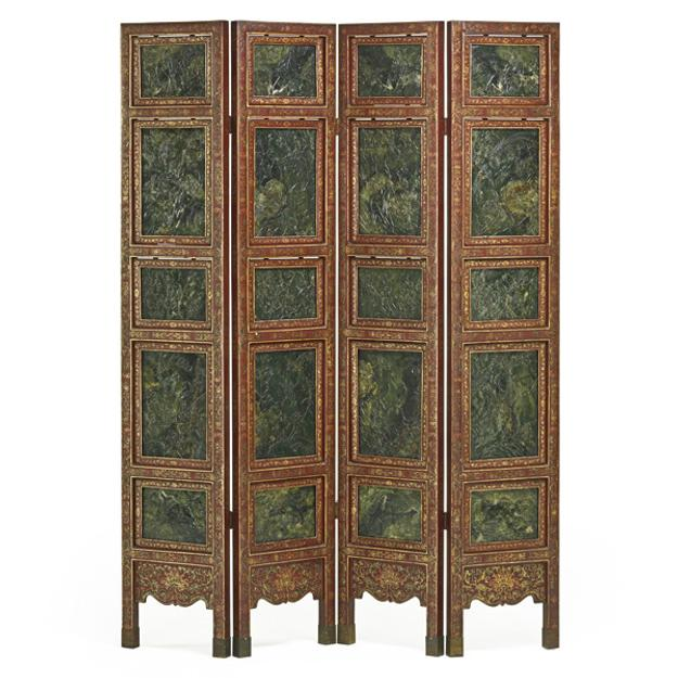 Lot 409, Chinese Nephrite Jade Four Panel Screen, $12,000-18,000.