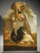 S.  Klapmuts (European 18th-19th Century), Chickens and Roosters in a Classical Landscape, oil on arched canvas