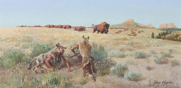 John Ford Clymer (American, 1907-1986) Stalking Buffalo oil on panel, 15 x 30 inches, pre-sale estimate $80,000 – 120,000, sold for $161,000.