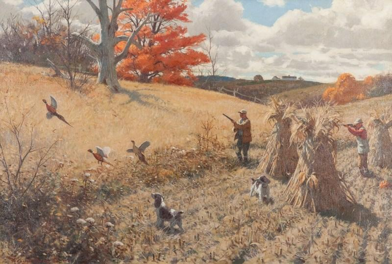 "Aiden Lassell Ripley, ""Springers and Pheasants,"" 1948, Oil on canvas, 35.5 by 48 inches, Estimate: $100,000-$200,000"