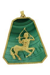 Vintage malachite pendant with an 18k gold centaur mounted to the center, framed in solid 18k gold; the gold centaur weighs 17.7 grams; gold frame and bail 16.9 grams (est.  $1,250-$2,500).