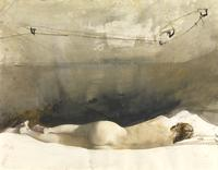"Andrew Wyeth (1917-2009), ""Barracoon"", 1976, Drybrush on paper, 19 3/4 x 25 1/8 in."