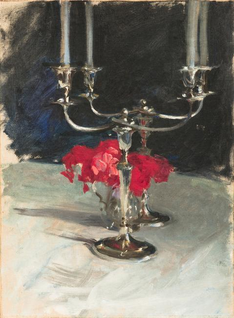 "Lot 51.  John Singer Sargent, ""Candelabra with Roses,"" oil, 21 x 16 in., Est.  $50,000-100,000"