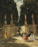 Emma Ciardi (Italian 1879-1933), Fontana dei Lauri, oil on canvas