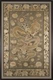"""Dragon and Flaming Pearl"".  Japan, Meiji period, Silk thread embroidery, 96 x 60 in."