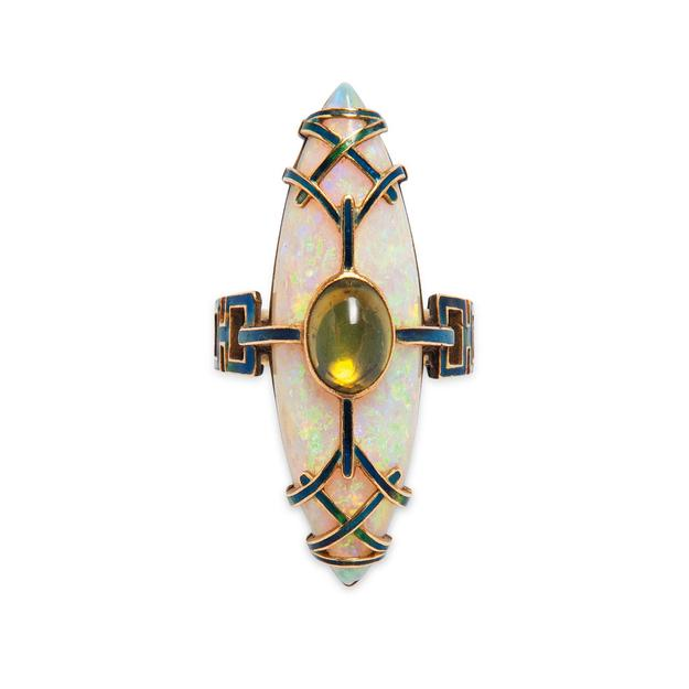 Art Nouveau Gold, Opal, Peridot, and Enamel Ring (Lot 53, Estimate: $10,000- 15,000)