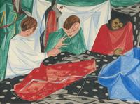 Lot 54 - Jacob Lawrence (1917-2000) Seamstresses, 1954, Tempera on board.