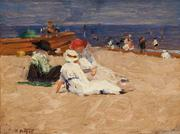Edward Potthast (1857-1927), Ladies in White Dress, ca 1910-20s.  Oil on Panel, 8.5 x 11.5, signed lower left E:Potthast.