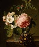 Jan Frans van Dael (1764-1840) Flowers in a Glass Vase on a Ledge, 1793.  Oil on panel, 28 x 21 cm.  Deborah Gage (Works of Art)