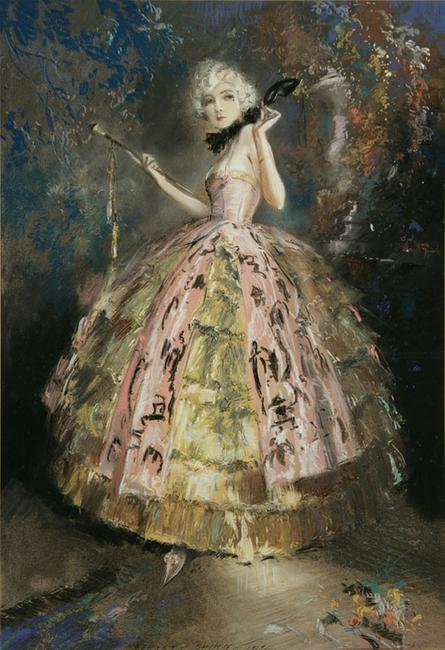 Everett Shinn (American 1876-1953), Masquerade, pastel on paper mounted on board, image size: 30-1/2 x 21-1/8 in.