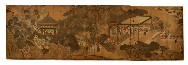 Monumental painting by classical Ming artist Qiu Ying (Chinese, 1494-1552), depicting a palace courtyard ($112,500).