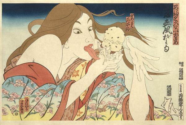 Masami Teraoka, 31 Flavors Invading Japan, 1982.  35-color woodcut with hand watercolor on hosho paper from the unnumbered ed.  of 500.  11 1/8 x 16 1/2 in.