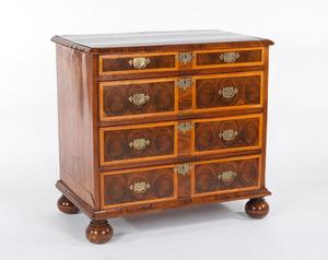 lot 1227.  18th Century English Oyster Burl Veneered Chest of Drawers estimated $1,800-$2,800