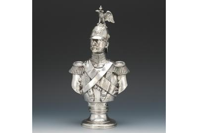 A Rare Morozov Russian 84 Silver Bust of Emperor Nicholas I after Friedrich August Theodor Dietrich, St.  Petersburg, 1896