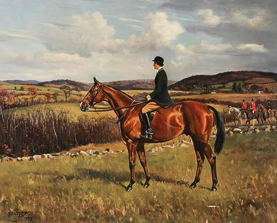 Franklin Brooke Voss (American 1880-1953), Margaret Mason Colt Peabody on Horseback, Signed Oil on Canvas and Dated 1939