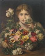 J.  F.  Portaels - Young Woman With Flowers