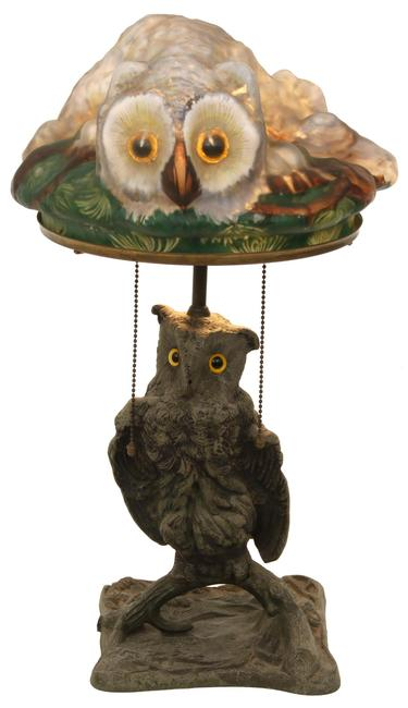"This Pairpoint Puffy ""Owl"" table lamp ($25/40,000) is reported to be one of only a few known examples.  It stands 21½ inches tall."