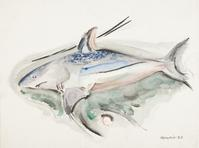 John Marin American (Rutherford, New Jersey, 1870 - 1953, Cape Split, Maine) Blue Shark, 1922.  Watercolor on heavy paper, 12 1/8 x 16 1/8 in.