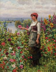 Daniel Ridgway Knight painting titled Summer Afternoon, Seine Valley