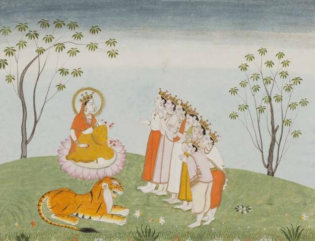 The Gods Appeal to the Great Devi for Help, Folio from a Devimahatmya series with Sanskrit text in Devanagari script on reverse, India, Himachal Pradesh, Kangra, early 19th century.  Color and gold on paper.  Lent by Narendra and Rita Parson.