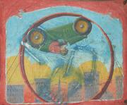 "This vintage Nieman Eisman sideshow or circus banner (est $1/1,500), Twentieth Century, American, depicts a monkey driving a racecar inside a wheel, stenciled lower right ""Nieman Studios,"" 92 by 115 inches.  Eisman was a renowned banner painter in the Chicago style of sideshow banner painting, actively painting banners from the 1920s to the mid-1950s."