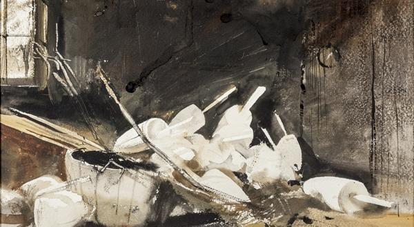 Andrew Newell Wyeth (1917-2009), Pot Buoys, 1954, watercolor, 8 1/2 by 15 inches, sold for $90,000