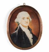 The Meredith-Moreau-Pratt portrait miniature of President George Washington, painted in 1801 as a watercolor and executed by Robert Field (est.  $60,000-$80,000).