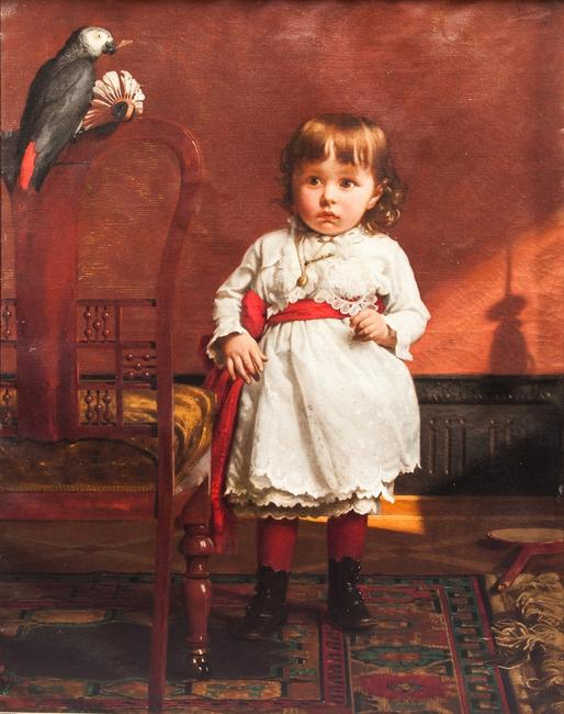 Seymour Joseph Guy (1824-1910), Little Girl in White Dress with Parrot, oil on canvas, 40 by 35 1/2 inches, Estimate: $40,000-$60,000
