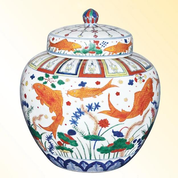 Ming fish jar with wucai tableau.  Jiajing six-character mark.  Gianguan Auctions Lot 97.  Pre-sale estimate: $3M.
