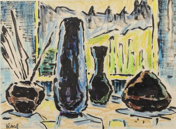 Karl Schmidt-Rottluff (German, 1884-1976), still life, pastel and India ink on wove paper, 15 1/8 x 20¼ in (sight).  Gifted by the artist to Ambassador M.J.  Hillenbrand in 1972, thence by descent to David M.  Hillenbrand.  Estimate: $10,000-$15,000