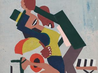 "William H.  Johnson (1901-1970), Jitterbugs III, 1941, pochoir on paper, 16"" x 11 1/8"" / 40.6 x 28.3 cm"