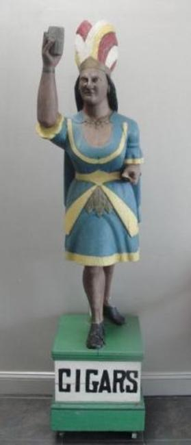 Antique Cigar Store Indian Princess - estate-fresh