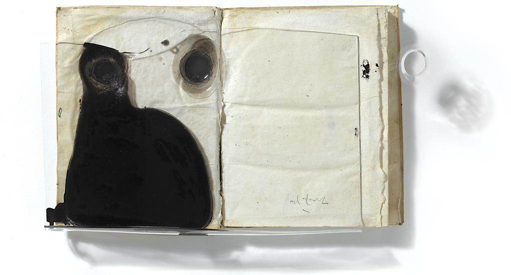 "Jordi Alcaraz, ""Exercici de disparicio"" (Exercise in disappearance), 2018, Painting, Book, Plexiglass, Wood, 23 5/8 x 32 1/2 inches"