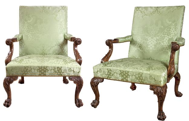 Pair of George II Walnut Library Armchairs, Circa 1755.  Est.  $250,000-350,000