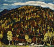 Marsden Hartley (1877- 1943) Maine Landscape, Autumn No.  13, 1909.  Oil on board, 11 3/4 x 13 1/2 in.  (29.8 x 34.3 cm)