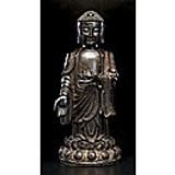 Lot 1503 Chinese Bronze Standing Buddha - realized $102,000