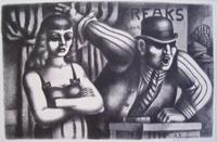 Abe Blashko, Sideshow, 1939, lithograph