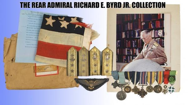 Headlining the auction are the personal possessions of Rear Admiral Richard E.  Byrd (1888-1957), the legendary American Naval hero, polar explorer and Medal of Honor recipient.