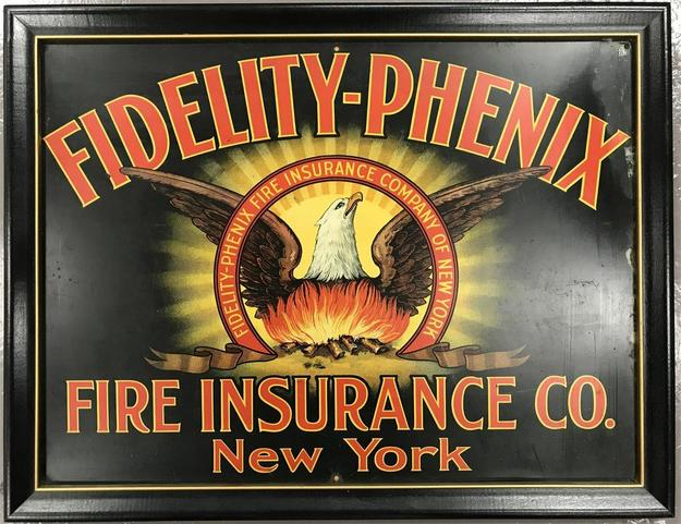 Advertising signs will include this antique Fidelity Phenix Fire Insurance Company sign and many other rare and beautiful signs from the period.