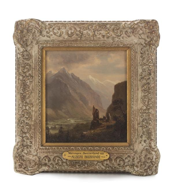 Oil on board attributed to Albert Bierstadt (1830-1902), titled Valley of Meringen, Switzerland (est.  $4,000-$6,000).