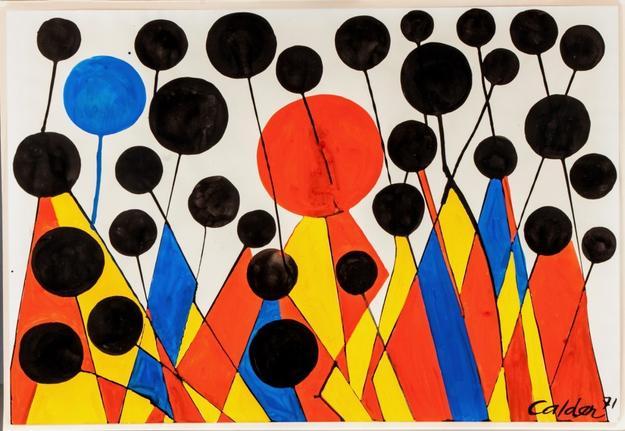 This original work by Alexander Calder (Am., 1898-1976), titled Bosbies & Uniforms,is expected to fetch $60,000-$80,000 at Cottone Auctions, Sept.  25th-26th.