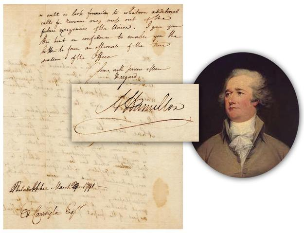 "Newly discovered handwritten and signed letter by Alexander Hamilton, apparently unpublished, dated March 20, 1791 and boldly signed with a flourish, ""A Hamilton"" (est.  $30,000-$35,000)."