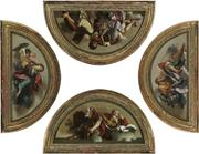 4 Lunette paintings, by Bernardino Nocchi, as bozzetti (preparatory pieces) for his larger work, which he did in the chapel of the Palazzo Vidoni-Caffarelli (1773-74).