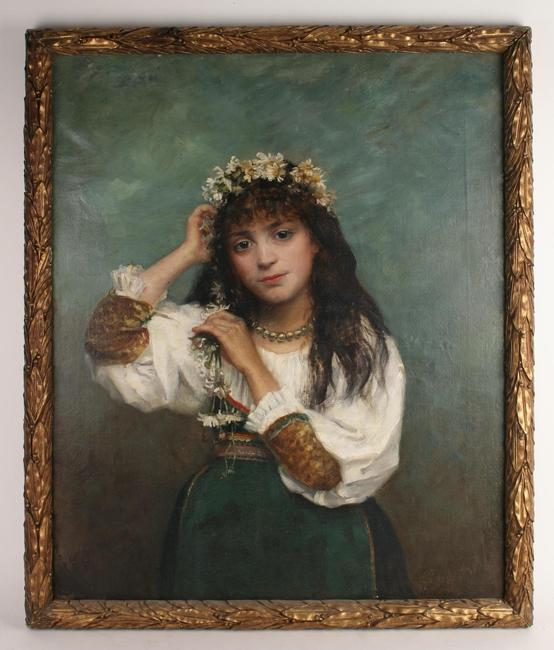 Oil on canvas portrait by Alexei Harlamoff (Russian, 1840-1925), depicting a young girl wearing traditional ethnic dress, her soulful eyes staring directly at the viewer (est.  $6,000-$9,000).