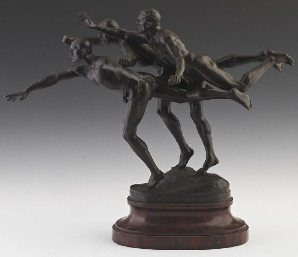 Painted bronze figural group from around 1900 by the French sculptor Alfred Boucher (1850-1934), titled Au But Les Coureurs, 13.25 inches tall (est.  $3,000-$5,000).