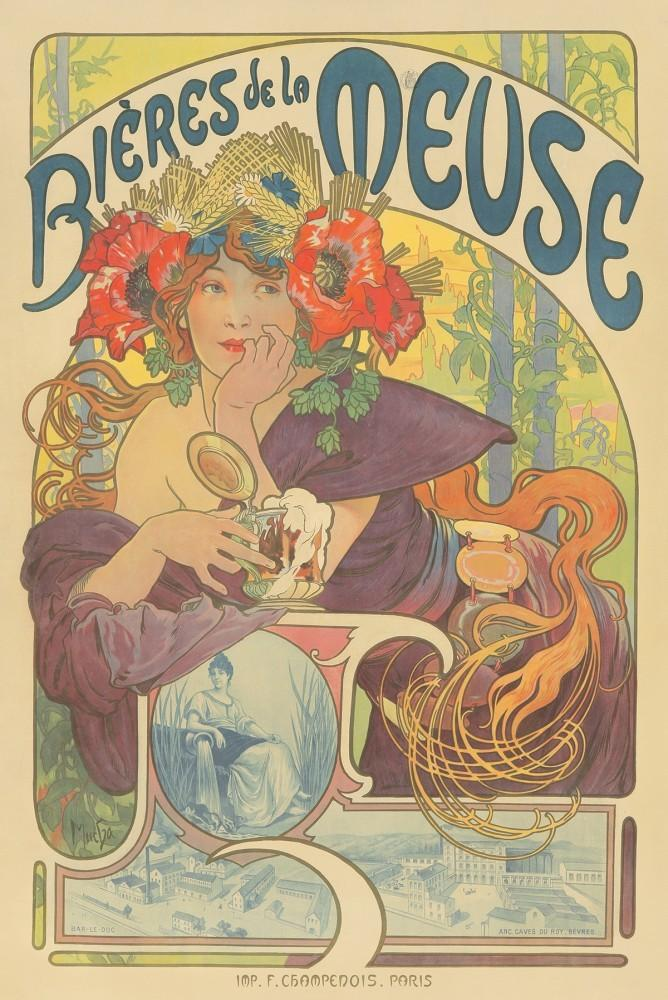 One of the world's most famous posters, by Alphonse Mucha (1860-1939), titled Bières de la Meuse (1897), 39 1/4 inches by 58 3/4 inches (est.  $25,000-$30,000).